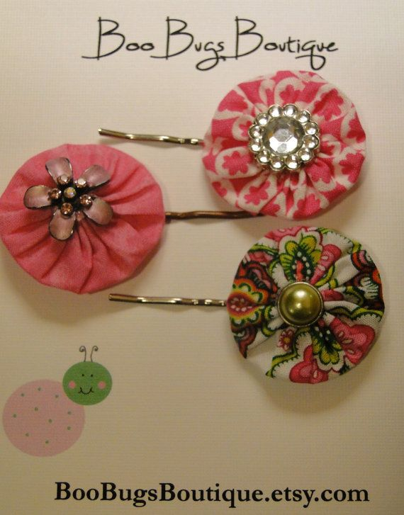 Trio Of Yo Yo Fabric Bobby Pins Made With Recylced Earrings and Embellishments