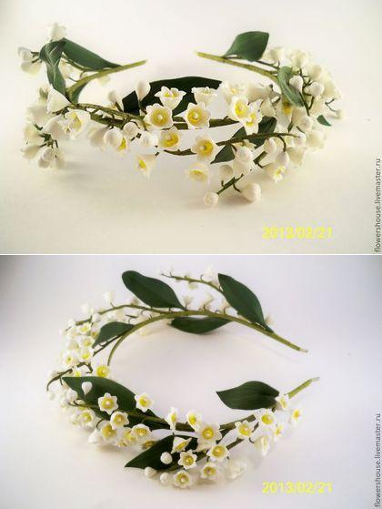 Купить Венок с ландышами - белый, свадебные аксессуары, свадебное украшение, венок на голову