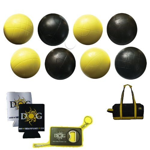 The Day of Games Plastic Beach Bocce Set, 90mm, Yellow/Black The Day of Games