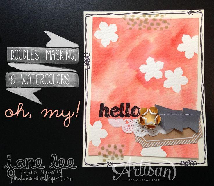 Fun Watercoloring TechniqueCards Ideas, Petite Petals, Stampinup Com Petite, Jane Stamps, Watercolors Techniques, Cards Shoppe, Artisan Jane, Masks Techniques, Jane Lee