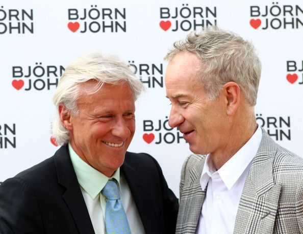 Wimbledon tennis legends Bjorn Borg (L) and John McEnroe attend a photocall at Wimbledon Park on July 1, 2011 in Wimbledon, England. Borg and McEnroe teaming up to launch a limited edition underwear collection.