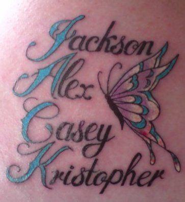 tattoos kids names on shoulder - Google Search