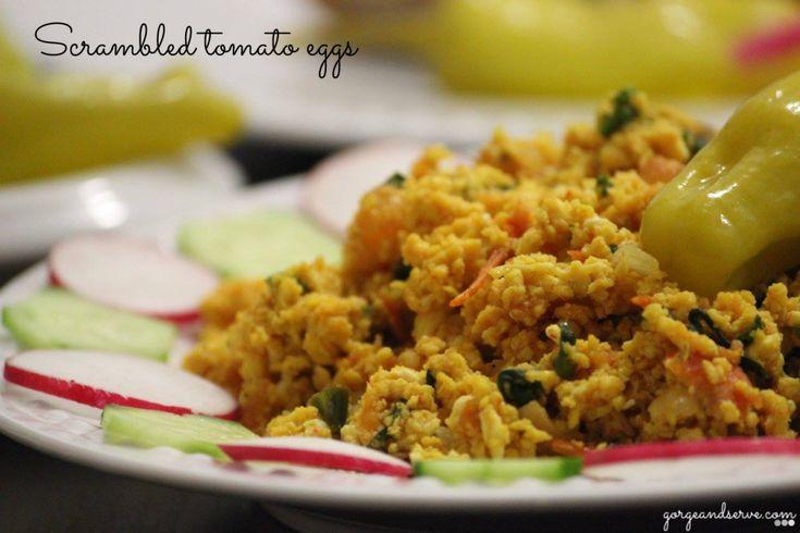 scrambled tomato eggs-Indian version