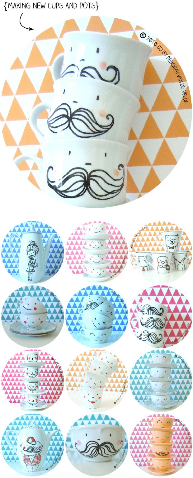 Charming designs on mugs and pretty easy to do with Pebeo Porcelaine 150 markers!