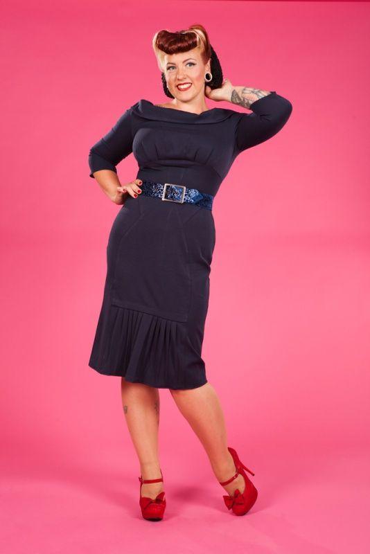 Miss Candyfloss Beatrice Lee dress navy blue   Jurken   Miss Vintage   Retro, vintage geïnspireerde dames kleding