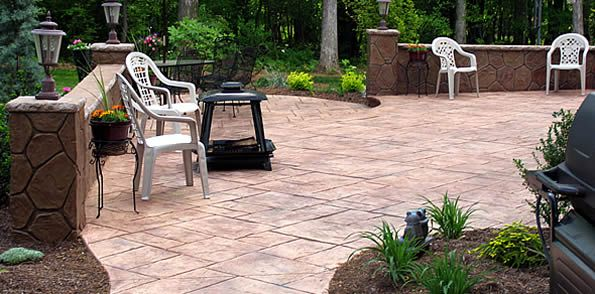 page about how much stamped concrete costs and link to find local concrete contractors