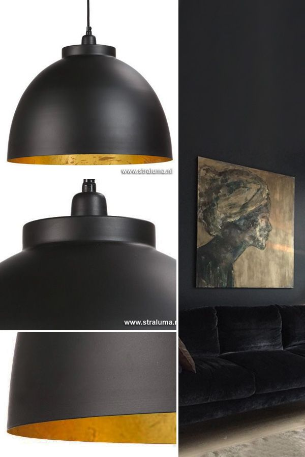 de hanglamp kylie buiten zwart binnen goud is een super mooie hanglamp de zwarte buitenzijde luxury living luxe verlichting met een tikje glam in