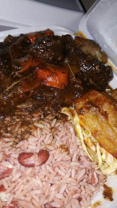 oxtail rice and peas cabbage and plantain  rice and