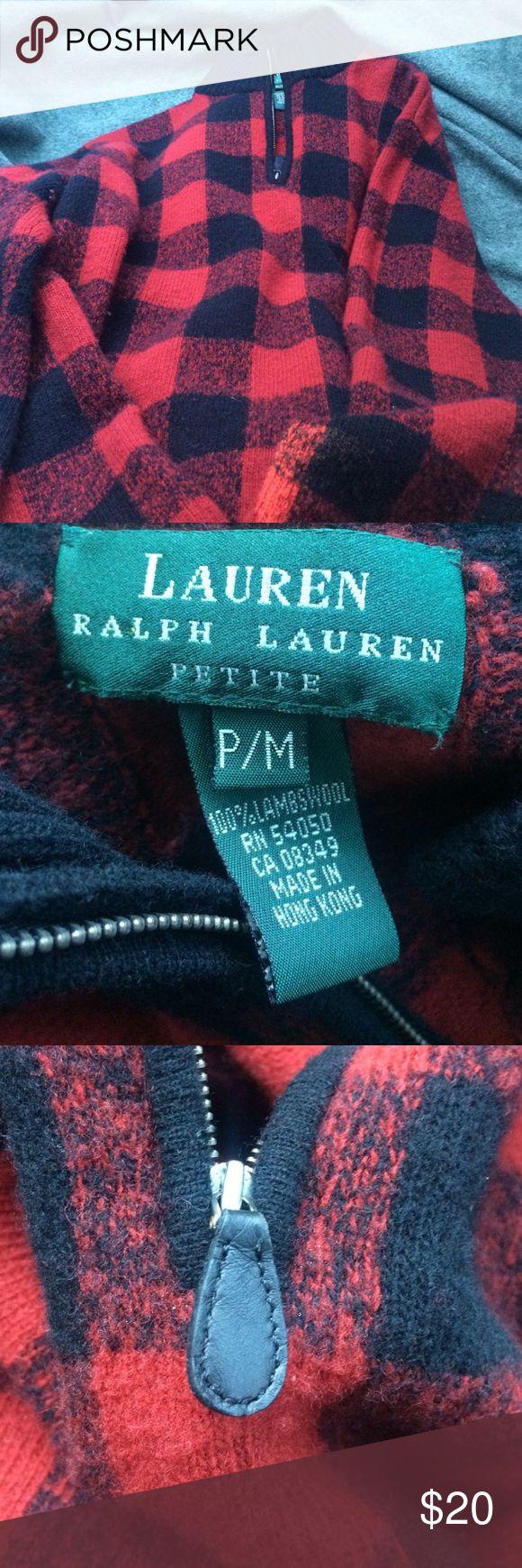 Lauren Ralph Lauren Petite Zip up 100% lambswool Petite Medium made in Hong Kong in great condition made out of 100% lambswool Lauren Ralph Lauren Sweaters