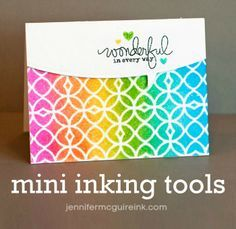 Mini Ink Blending Tool Video... showing two cards made with stencils.