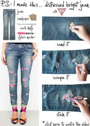 Maak je eigen style broek, met neon scheuren