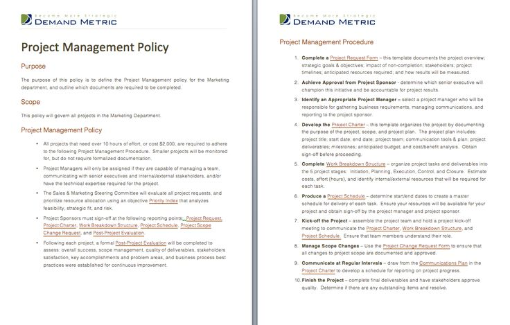 Project management policy a template to document a for Document management policy template