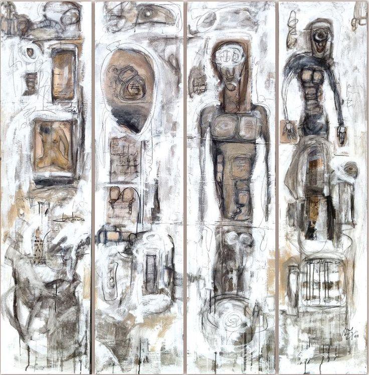 Beppo Zuccheri www.beppozuccheri.com -Untitled/Scribbles- 2011 4 / cm 188x61/ Mixed media