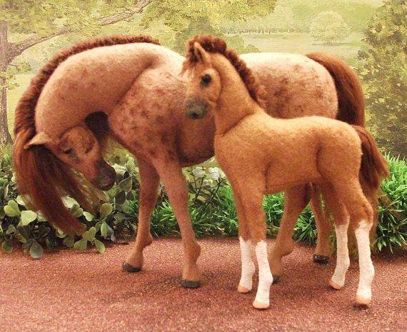 OOAK wool felt fabric Mare and foal model horse by Needlenags,: Wool Felt, Fabrics Mare, Breyer Hors, Aubry Hors, Felt Stuff, Felt Hors, Models Hors, Felt Art, Felt Fabrics