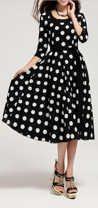 too cute...miriam would flip over this dress, except she'd want it sleeve-less and wear it with a red or black cardigan :) #polka-dots