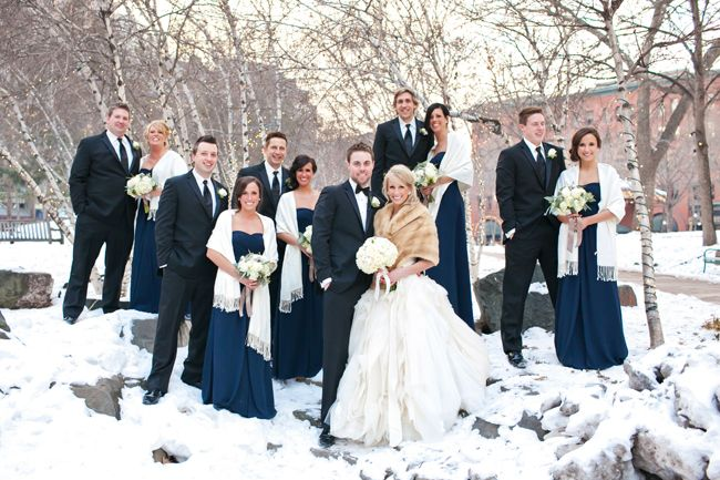 Winter bridal party look | Sewell Photography | blog.theknot.com