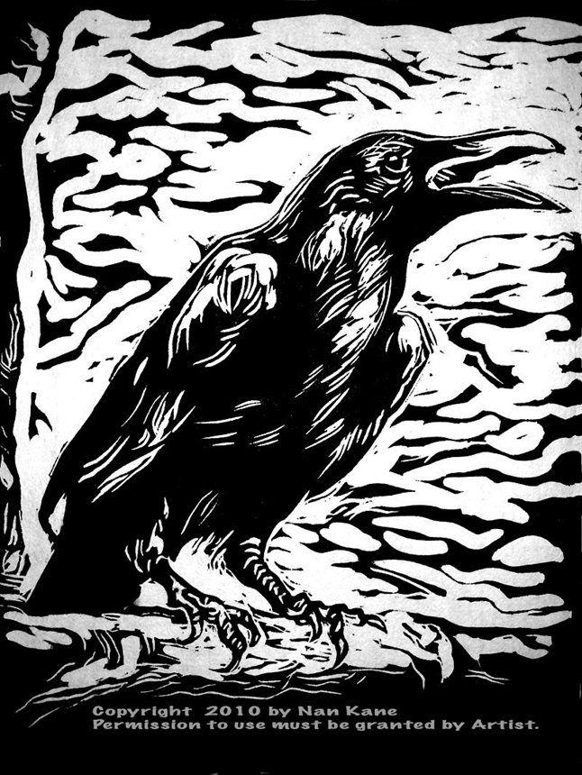 raven-iii-lino-block-print-on-japanese-handmade-paper.jpg (646×860)