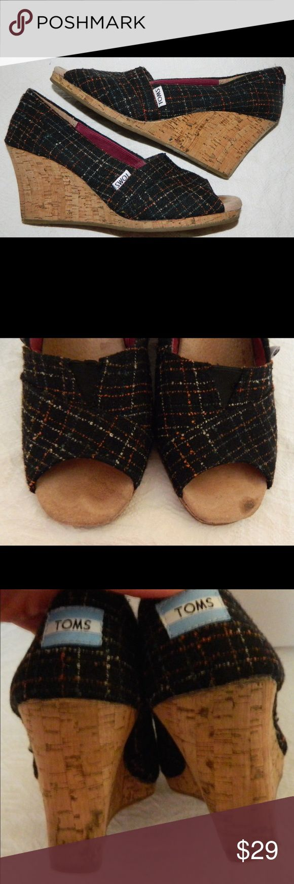 TOMS Espadrilles PEEP TOE Tweed PLAID BLACK Wedges With a little bit of wear on toe and heels. TOMS Shoes Espadrilles