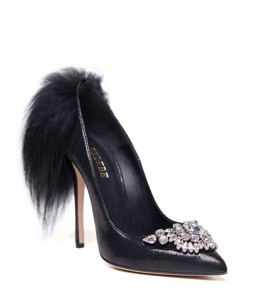 GEDEBE's 'Marlene' pumps are topped with an eye-catching crystals design.  This striking pair has been crafted in Italy from glittered black leather  and set ...