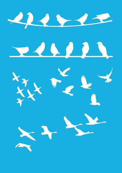 Трафарет - 92. «Птицы на проводе»