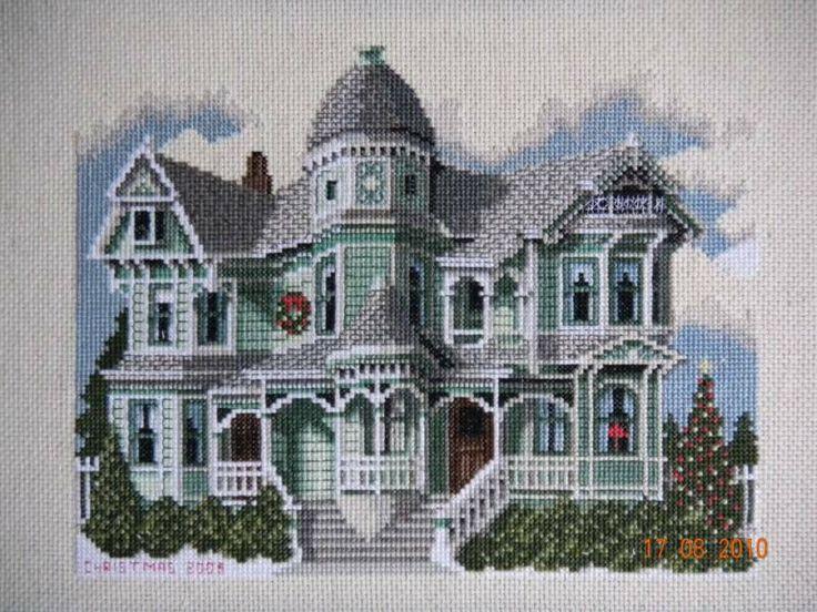 Beautiful Victorian in cross stitch.