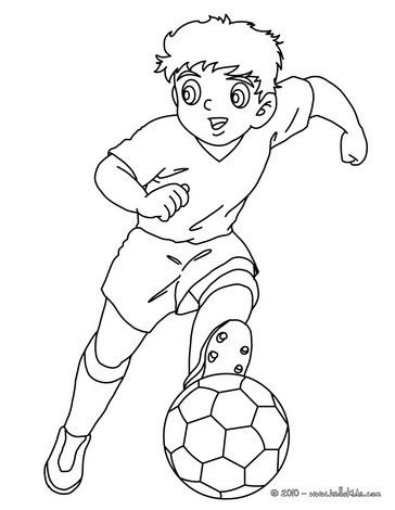 Soccer player dribbling coloring page