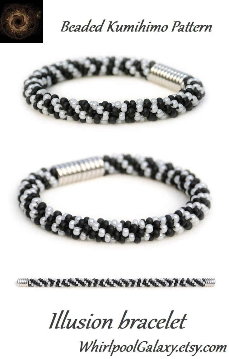 Illusion Kumihimo bracelet pattern makes the spirals