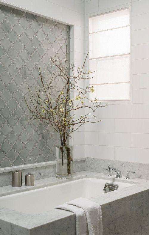 white and gray bathroom design using walker zanger tile