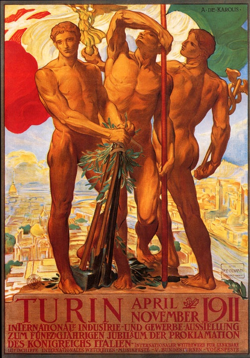 vintage Italian travel / tourism advertising art poster for the Italian International Exhibition of Industry and Trade in Turin in 1911