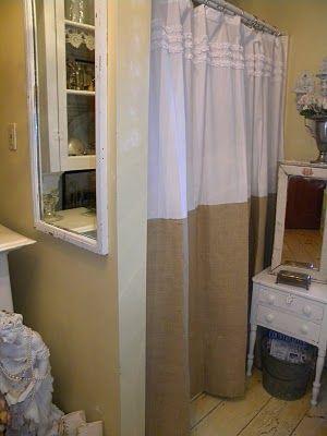 White ruffles and burlap on a shower curtain, love.Jute Burlap, Vintage Vanities, Vintage Vanity, Shower Curtains, Neutral Cottages, Burlap Shower, Cheryl Cottages Hom I M, Cheryls Cottage´S Hom, White Ruffles