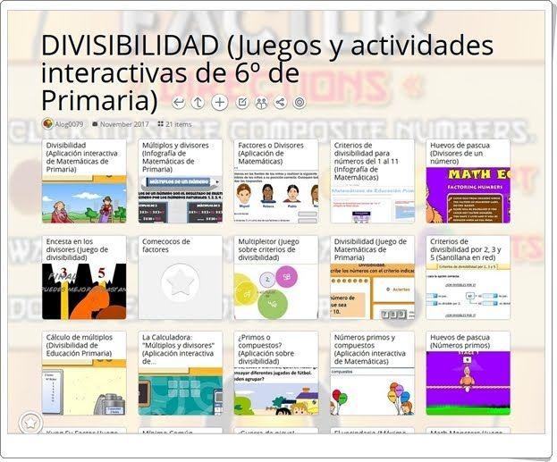 22 Juegos Actividades Y Materiales Para El Estudio De La Divisibilidad En 6º De Primaria Divisibilidad Actividades Interactivas Actividades