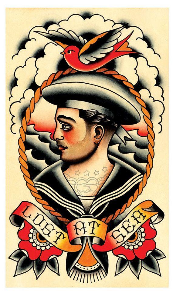 Vintage Sailor Lost at Sea Tattoo Flash Print by MissMartinTattoos