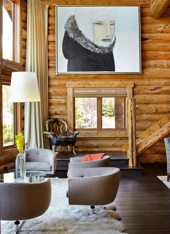 Rustikale Holzwaende Ausgefallene Wandverkleidung Aus Holz Im Wohnzimmer