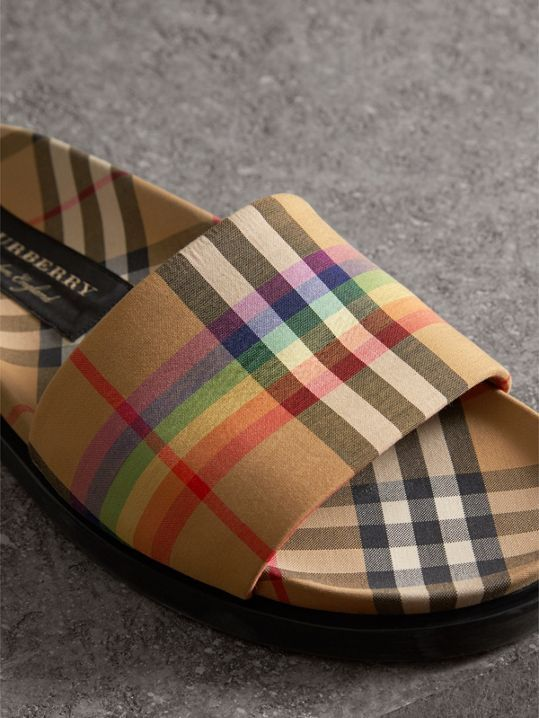 723a611606cc Rainbow Vintage Check Slides in Antique Yellow - Women