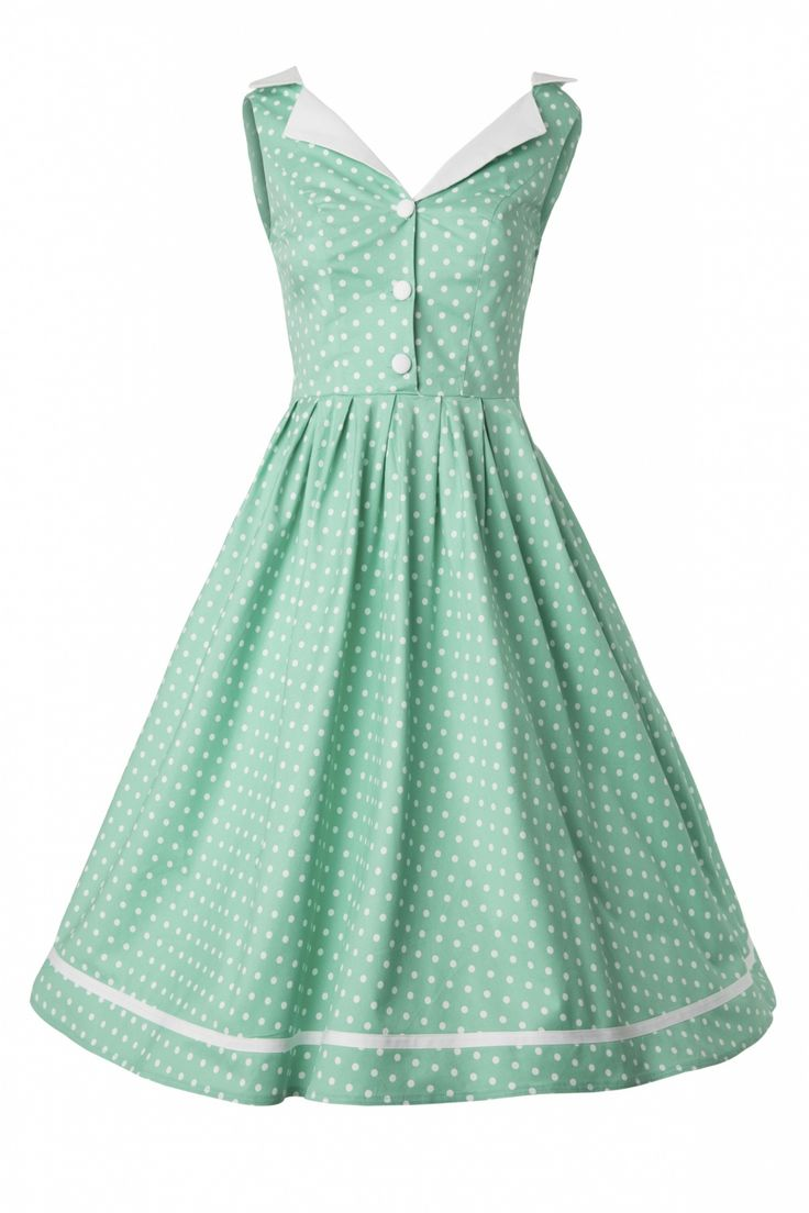 I've got a matching emerald green petticoat for this dress. Perfect for my nex Rock n Roll party where I would swing the hell out of this dress! Bunny - 50s Karen dress in Mint Green Polka Dot #topvintage