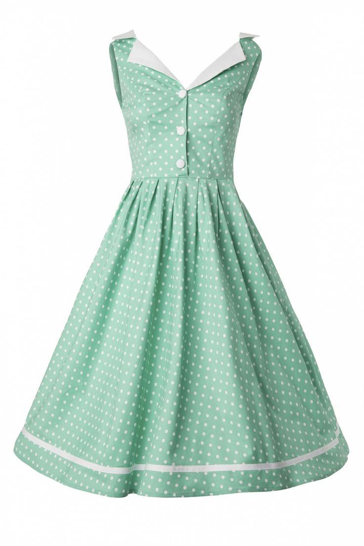 Bunny - 50s Karen dress in Mint Green Polka Dot