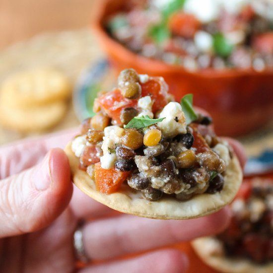 Fresh Bruschetta and Lentil Dip. Healthy! Spring! Feta for the win.
