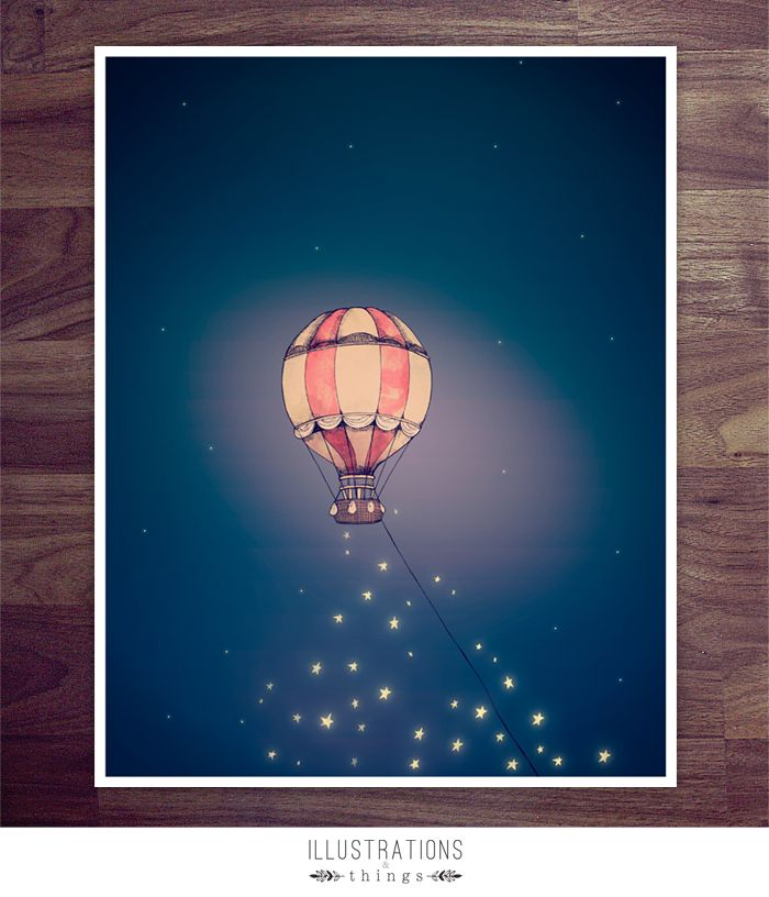 Hot Air Balloon Art Print - 11 x 17 Illustration Print Piece.  Made to order for the home.
