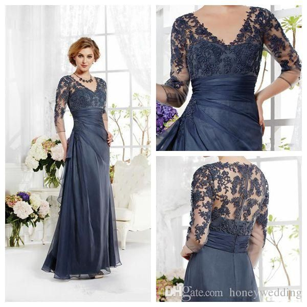 2015 Plus Size Navy Blue Mother Of The Bride Groom Dresses 3/4 Sleeves Beaded Lace A-line V-neck Long Elegant Evening Wedding Party Gowns Online with $115.19/Piece on Honeywedding's Store | DHgate.com