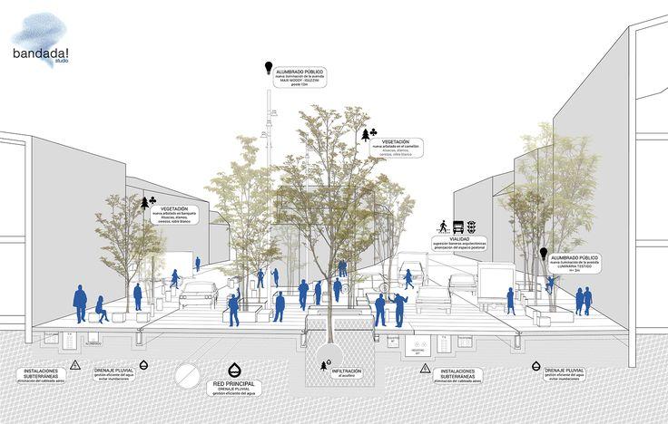 Hidalgo Avenue Urban Regeneration, in Mexico City. Urban planning and public places. Project by Bandada Studio.