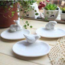1 pcs Zakka cozinhar ferramenta Mini passarinho fulvo placas pratos de coelho coelhos Animal bandeja de cerâmica branca decoração de Casa talheres zl4341(China (Mainland))