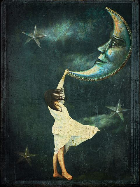 Lovely!! Girl + Moon art: Themoon, Especially, Moon, Illustrations, Goodnight Moon, Stars, Beautiful, Moonstruck, The Moon