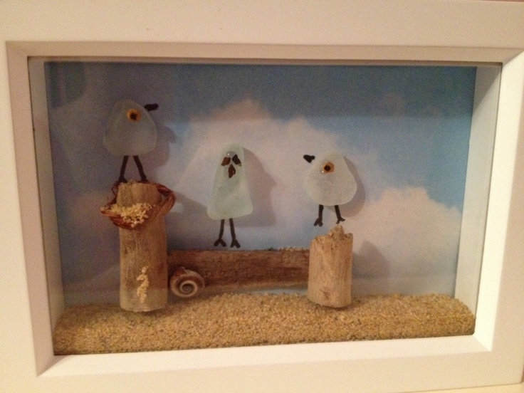 Crafted by Laurie Riviello :Sea glass gulls- idea from book on Sea Glass Crafts