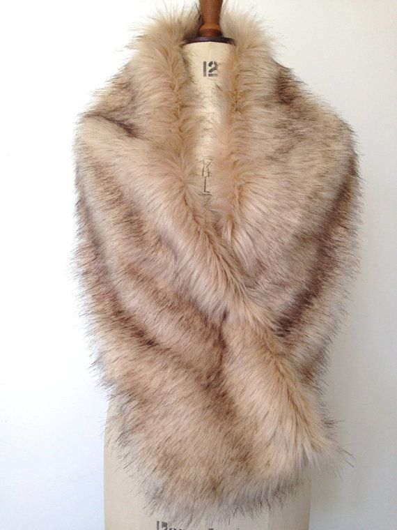 Champagne Faux Fur Shrug  Bridal Fox Fur Stole by CardamomClothing