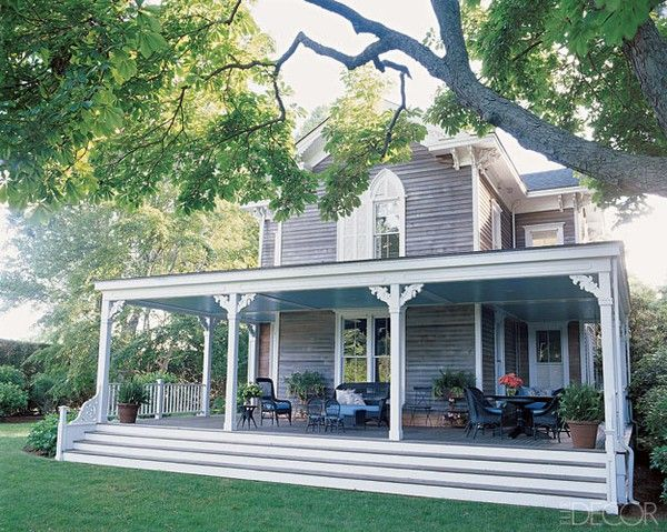i love this idea - extending the porch and the stairs for all of it! so southern looking!