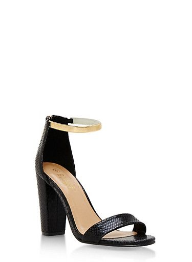 Metallic Ankle Strap Mid Heel Sandals,BLACK SNAKE