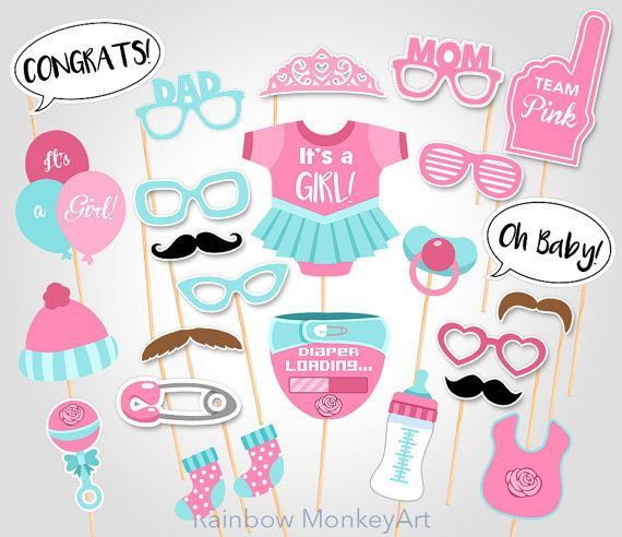 Printable Photo Booth Party Props - Set of 25 props ★ This listing is for a DIGITAL INSTANT DOWNLOAD FILE only. No physical items will be shipped ★ Funny and colorful unique props for your Baby Shower party! This listing is for a printable photo prop set, a great option for the DIYers and last-minute party planners! Prints perfectly onto any A4 (8.2 x 11.6) or 8.5 x 11 Heavy Weight Paper Card Stock ◄ INCLUDES ► 11-page PDF file that contain 25 props! • (1) Its a girl tutu | 6.5 • (1) Ba...