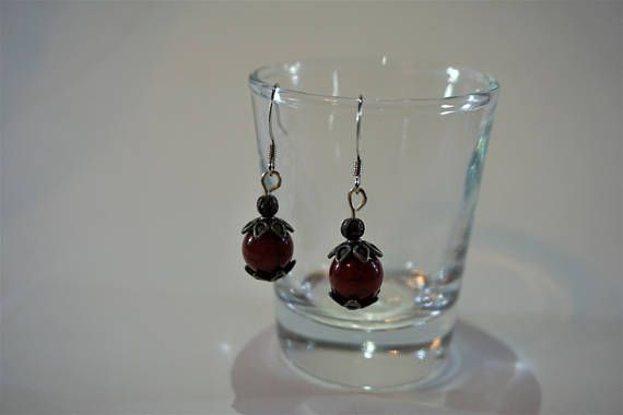 Silver and red earrings, jewelry, handmade https://www.etsy.com/ca/listing/484496405/red-earrings