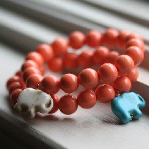 Lucky Elephant Bracelet (Coral Beads)