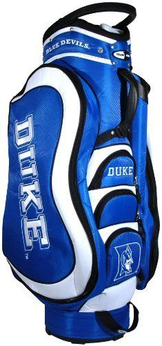 NCAA Duke Blue Devils Medalist Cart Bag by Team Golf. $149.99. Padded strap with strap pouch and fleece-lined valuables pouch. Integrated top handle and 14-way full length dividers. 8 location embroidery and 5 zippered pockets. Removable rain hood and umbrella holder and towel ring. External putter well and 3 lift assist handles. This bag is loaded with features, including integrated top handle, 14-way full length dividers, 8 location embroidery, 5 zippered pockets, external ...